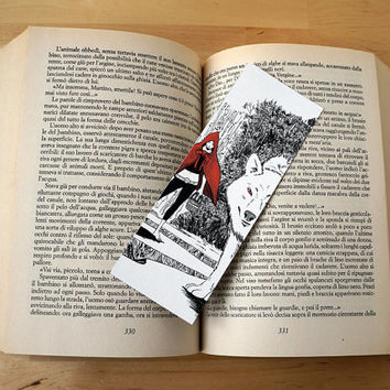 Illustrated BOOKMARK: Little Red Riding Hood and the black woolf