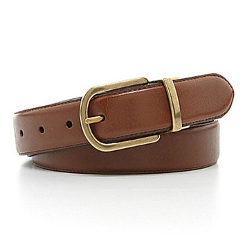 Roundtree & Yorke Big & Tall Round-Buckle Reversible Leather Belt - Br