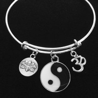 Black and White Silver Yin Yang with Lotus and Om Charm Bracelet Adjustable Expandable Silver Wire Bangle Trendy Yoga Inspired Meaningful Inspirational