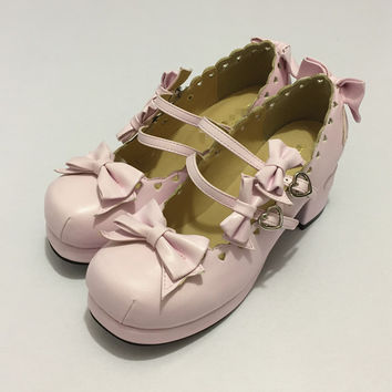 Japanese Tea party shoes Lovers Harajuku Lolita Bow Shoes Lace High-heeled Shoes Love Laser womens pumps