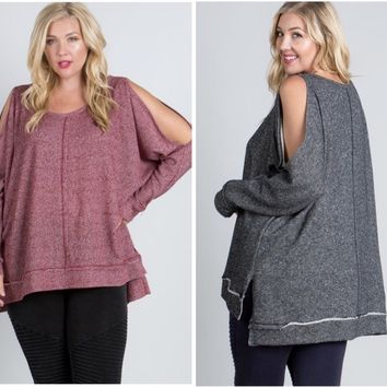 PLUS SIZE French Terry Peek-A-Boo Sweatshirt in Burgundy