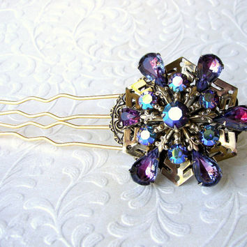 Purple Aurora Borealis Rhinestone Hair Comb Jeweled Hairpiece Vintage Jewelry Headpiece Gold Iris Wedding Bridal Accessory Pageant Ballroom