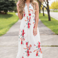 Kissed By You Braided Detail Halter Floral Maxi Dress (Ivory)