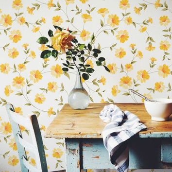 Petunia Flower Pattern Wallpaper - Petunia Removable Wallpaper - Petunia Wall Sticker - Petunia Wall Decal - Petunia Self Adhesive Wallpaper