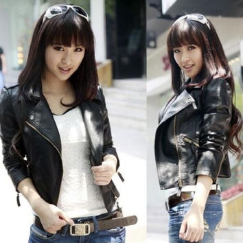 Women black Slim Biker Motorcycle Faux Leather Zipper Jacket S-XXXL = 1932207172