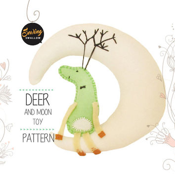 Baby mobile DEER and MOON felt Sewing pattern