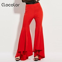 Clocolor women pants High Waisted  Trousers Slim Bellbottoms Red Flared long full Asymmetric Flared Fashion women pants