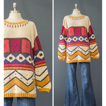 Vintage 90s Sweater - 1990s Multicolor Tribal Sweater - Geometric Abstract Oversize Sweater - Beaded Sweater - Long Cotton Tunic Sweater