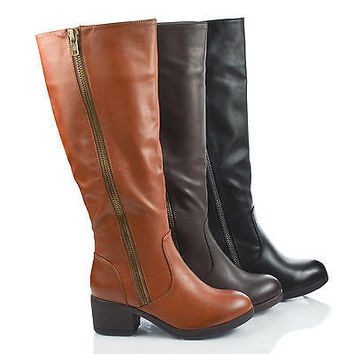 Mariah14 Chestnut By Bamboo, Round Toe Zip Up Mid Calf Stacked Heel Riding Boots