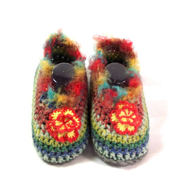 Crochet Girl Moccasin - Boho Style Loafer - Toddler Girl Shoes - Baby Moccasin Loafer - Toddler Slipper Shoe