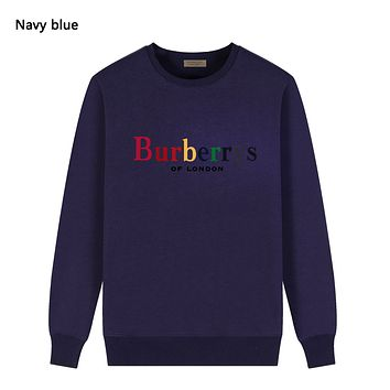 Burberry Autumn And Winter New Fashion Multicolor Letter Print Women Men Long Sleeve Top Sweater Navy Blue