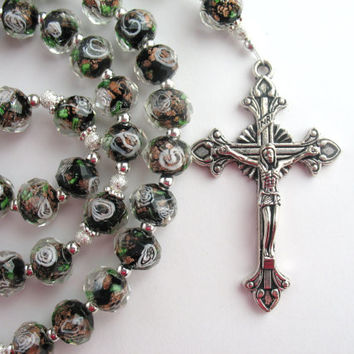Floral Rosary, Acrylic Faceted Beads, Multicolor Rosary, Catholic Prayer Bead, Silver Crucifix, Holy Family, Catholic Gift, Holy Spirit