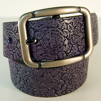 Women's leather belt Dark Brown leather belt Handmade belt with embossed roses & leaves Leather belt for women Custom leather belts
