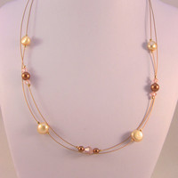 24kt Gold Plated Necklace With Cream Freshwater Pearls & Apricot mix colored Swarvoski Pearls and Crystals
