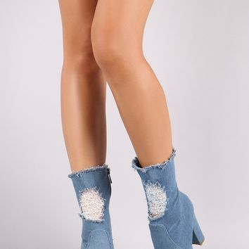 Bamboo Ripped And Frayed Denim Pointy Toe Chunky Heeled Booties