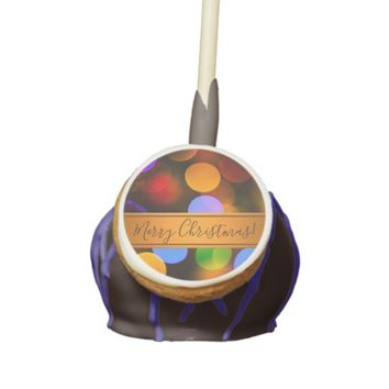 Multicolored Christmas lights. Add text or name. Cake Pops
