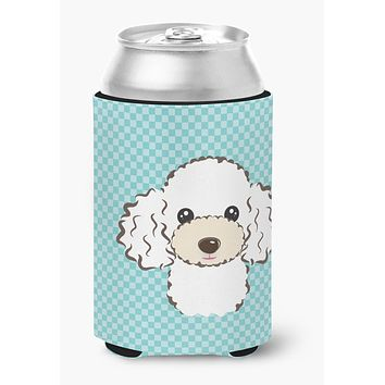 Checkerboard Blue White Poodle Can or Bottle Hugger BB1195CC