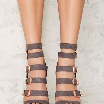 Nasty Gal Full Exposure Suede Heel - Gray