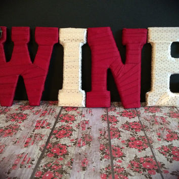 Custom Made Decorative Letters-Wine Lover by Tightly Wound Designs
