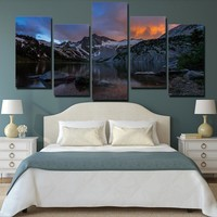 5 piece canvas art Lake mountains at sunset landscape painting wall art