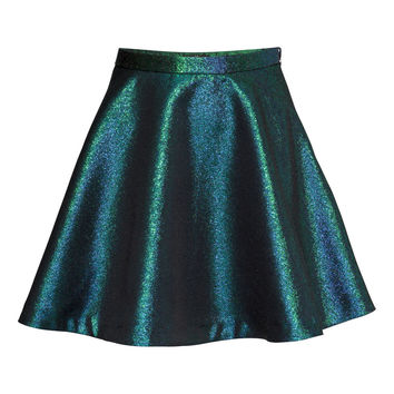 H&M - Metallic Skirt - Teal - Ladies