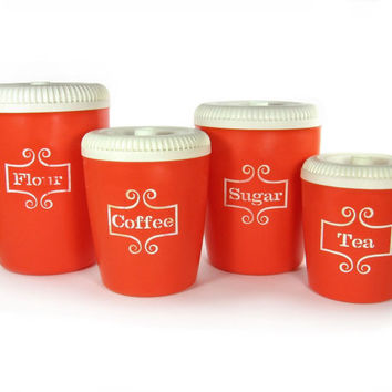 Vintage Red Canister Set / Flour, Sugar, Coffee, Tea