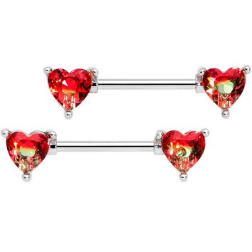 "14 Gauge 9/16"" Red Tourmaline Heart Barbell Nipple Ring Set"