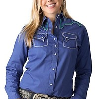 Rock 47 by Wrangler Women's Blue with Teal Embroidery Long Sleeve Western Shirt