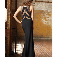 Black Sheer Paneled Cut Out Dress Prom 2015