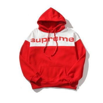Supreme Letters Hooded Long Sleeved Sweater Coat