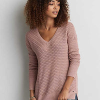 AEO Textured V-Neck Sweater , Rose