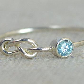 Infinity Aquamarine Sterling Silver Ring