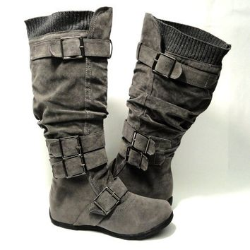 Womens Knee High Faux Suede Flat Winter Buckle Boots Gray , 7