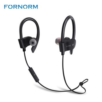 Fornorm Wireless Bluetooth 4.1 Headphones Sports Earphones Mic Waterproof HD Stereo Sweatproof Earbuds for Gym Running