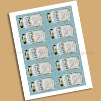 Rustic Mason Jar Diaper Raffle Tickets INSTANT DOWNLOAD Printable Raffle Tickets Baby Shower Blue and Brown DIY