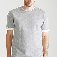 Layered-Trim Heathered Tee