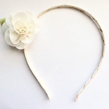 Girls Cream Chiffon Flower Hard Headband, Rose Gold glitter headband,Beige headband,Teens Headband,Tweens Headband,Wedding Headband, Fantasy