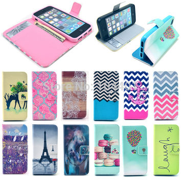 PU Leather Wallet Stand Case for iPhone 5 5S Phone Bag with Card Holder Flip Cover Pouch Painting Patterns