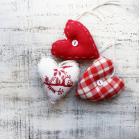 Set of heart ornaments rustic primitive textile Scandinavian Christmas ornaments Christmas decoration gift red white