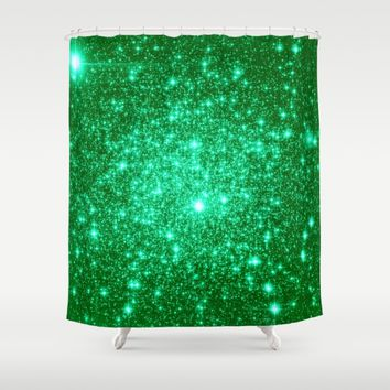 Emerald Green Glitter Stars Shower Curtain by SimpleChic
