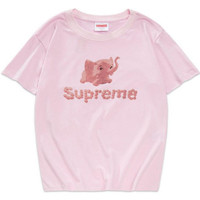 """Supreme"" High Quality Print Loose T-Shirt Top"