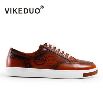 VIKEDUO Brand 2017 Fashion Flat Mens Shoes Sasual Footwear 100% Genuine Leather Vintage Unique Laser Hand Painted Shoes For Man