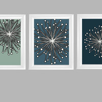 Floral Star Abstract Modern Wall Art  Blue Green by TurnTwoImages