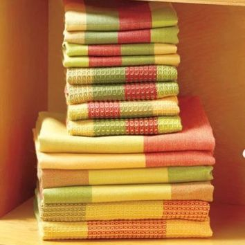 Kitchen Towel Set Spice 14-Pc Woven Dish Cloths Cleaning Colorful Home Decor