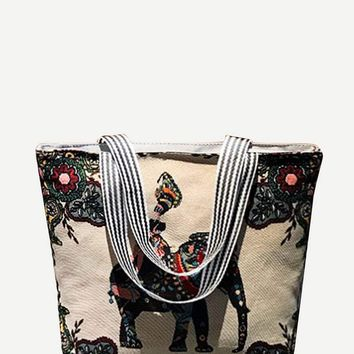 Elephant Fabric Tote Bag
