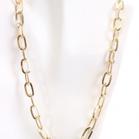 Gold High Polished Metal Chain Link Necklace