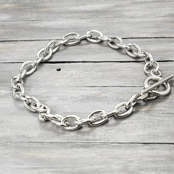 Silver Plated Charm Bracelets, Charm Bracelets with Toggle Clasp, Charm Bracelet Chain, Stamping Supplies, Metal Stamping, Bracelet Chain,