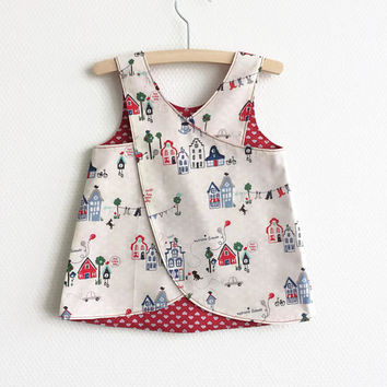 Reversible pinafore baby girl summer dress. Houses, clocks, hearts. Cotton fabric. Baby girls. Cute toddler dress. Red blue