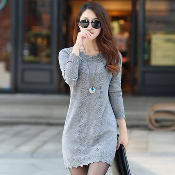 2018 Autumn and winter sweater women hooded in the long section of Korean women Slim solid color sweater dress