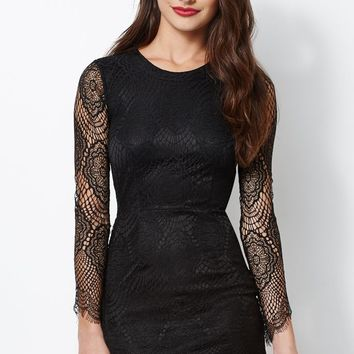 Kendall & Kylie Lace Cutout Long Sleeve Dress - Womens Dress - Black